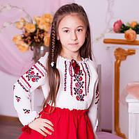 Дитяча вишиванка Троянда  (домоткане полотно, ручна вишивка, 6 років), фото 1