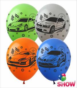 """Латексные воздушные шары с рисунком """"""""Авто"""""""", диаметр 12 дюймов (30 см.), печать шелкография 4 стороны, 100 шт"""