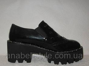 Криперсы женские модные на тракторной подошве черные, фото 2