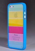 Чехол Радуга с голубым бампером на iPhone 5 5S, фото 1