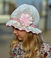 Ажурный цветок+ленточки - панамка х/б р.50-54 Бел+(св.роз, +т.син), розовый, т.розовый, фото 1