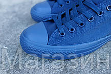 Мужские кеды Converse Chuck Taylor All Star Low Mono Blue Конверс Чак Тейлор Олл Старс синие, фото 2