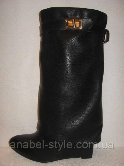 Сапоги стильные женские на танкетке весна-осень кожаные черные Код 178
