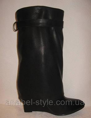 Сапоги стильные женские на танкетке весна-осень кожаные черные Код 178, фото 2