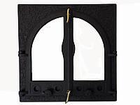 Двухстворчатая дверца из чугуна со стеклом - VVK 56 х 54,5 см/45х45см
