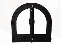 Двухстворчатая чугунная дверца со стеклом- VVK 56 х 54,5 см/45х45см