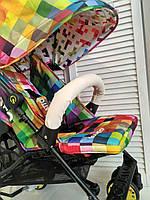 Бампер для коляски из эко кожи (молочный) - диаметр ручки 20 мм
