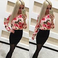 Красивое платье верх цветы, юбка однотонная КР-04.014
