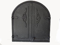 Двухстворчатая  Dunántúl чугунная дверца (арка) без стекла 57X62см-53х57см
