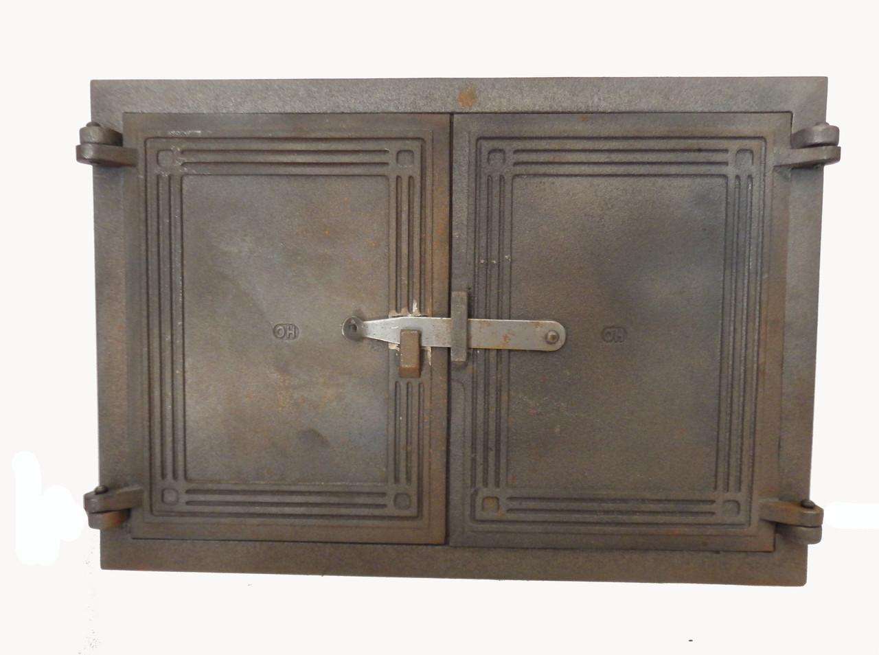 Чугунная дверца без стекла на две створки для печи - Dunántúl 46.5х34см-45х30см