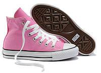Женские высокие кеды Converse Chuck Taylor All Star (конверс, конверсы оригинал) розовые