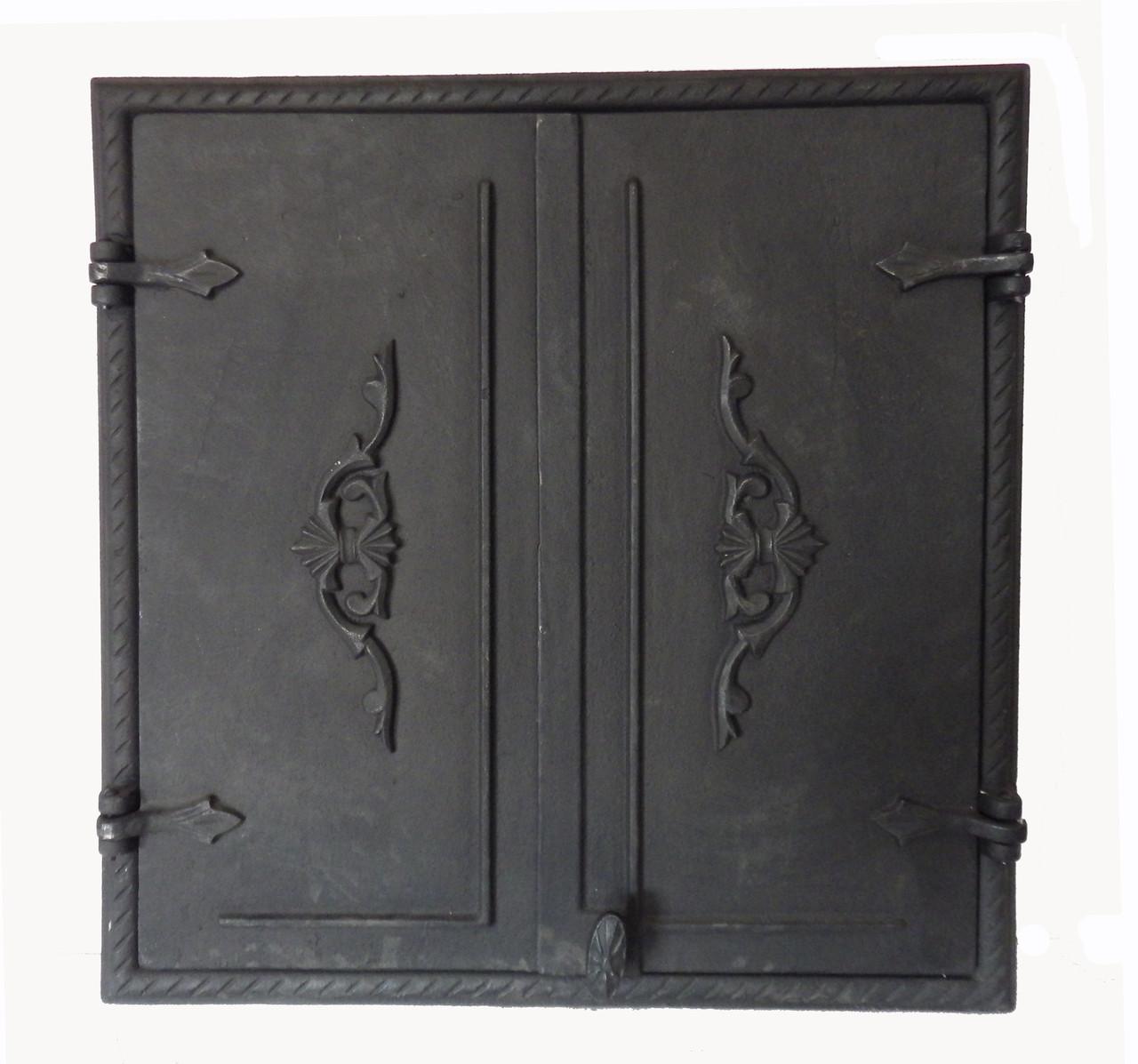 Чугунные дверцы без стекла две створки для печи - Dunántúl 61х66.5см-55х60см
