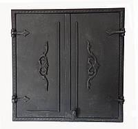 Чугунная дверца Dunántúl без стекла две створки 61х66.5см-55х60см, фото 1