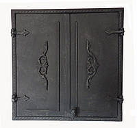 Чугунная дверца Dunántúl без стекла две створки 61х66.5см-55х60см
