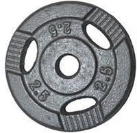Диск для штанги, металл, порошковая окраска, вес - 2,5 кг