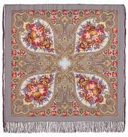 """Платок шерстяной с шелковой бахромой """"Осенние кружева"""", 125х125 см, фото 1"""