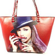 Летняя женская сумка  2 в 1 с клатчем Rose Heart 6609 красная
