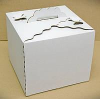 """Картонная коробка для торта 30Х30Х25 см """"Бабочка белая"""""""