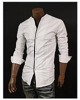 Мужская рубашка без ворота в белом цвете