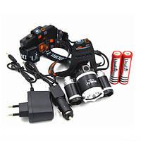 Налобный аккумуляторный мощный  фонарь-фара Boruit с 3 LED лампами.