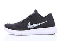 Кроссовки мужские беговые Nike Free Run Flyknit Black White (найк фри ран) черные