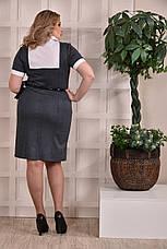 Офисное платье больших размеров 0225 серое, фото 3