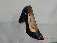 Туфли женские лаковые натуральные на каблуке темно-синие