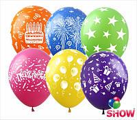 """Воздушные шарики Карнавал шелкография микс 12"""" (30 см)  ТМ Show"""