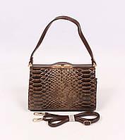 Коричневая женская сумка Coo & Co, тиснение под кожу рептилии