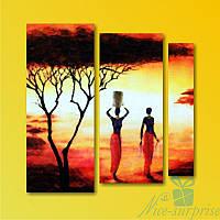 Модульная картина Африка из 3 фрагментов