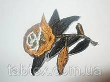 Вышивка клеевая розочка коричневая 20 шт.