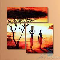 Модульная картина Африканские традиции из 3 фрагментов