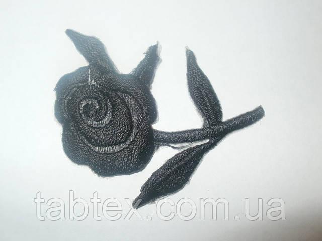 Вышивка клеевая розочка черная 20 шт.