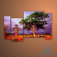 Модульная картина Африканский пейзаж из 4 фрагментов