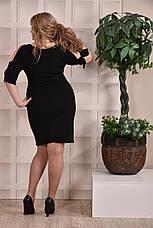 Черное платье-футляр больших 60+ размеров 0229, фото 3