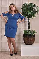 Платье-футляр больших размеров 0229 голубое