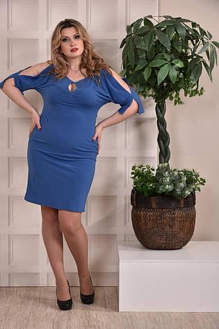 Платье-футляр больших 60+ размеров 0229 голубое, фото 2