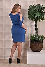 Платье-футляр больших 60+ размеров 0229 голубое, фото 3