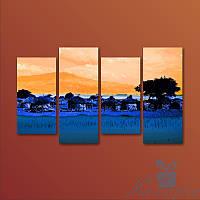 Модульная картина Африканская деревня из 4 фрагментов