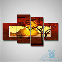 Модульная картина Африканская долина из 4 фрагментов