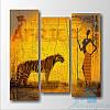Модульная картина Африканская женщина и тигр из 3 фрагментов
