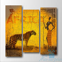 Модульная картина Африканская женщина и тигр из 3 фрагментов, фото 1