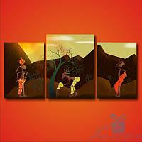 Модульная картина Африканская женщина с кувшином из 3 модулей, фото 1
