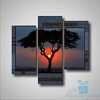 Модульная картина Африканское дерево из 3 фрагментов, фото 1