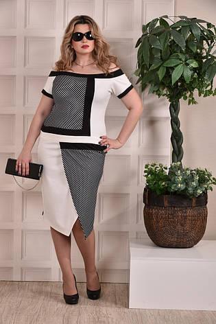 Модное платье больших 60+ размеров 0231 полоска, фото 2