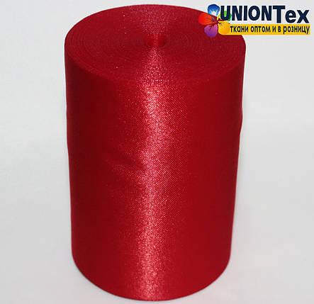 Лента атласная 10 см красная, фото 2
