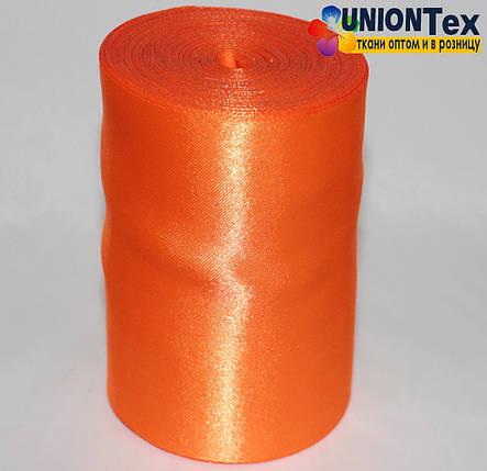 Лента атласная 10 см ярко-оранжевая, фото 2