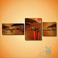 Модульная картина Две африканские девушки из 3 фрагментов, фото 1