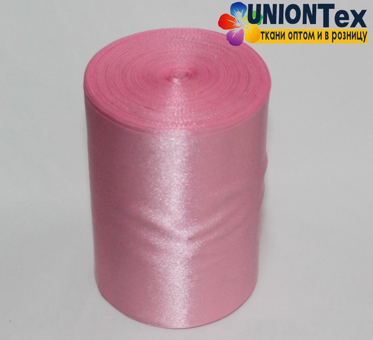 Лента атласная 10 см розовая