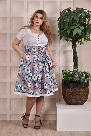 Летнее платье больших размеров 0232 голубое, фото 2